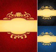 Elegant golden frame banner with ornate wallpaper background (3