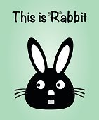 This is rabbit, bunny vector, cute rabbit colorful. green background