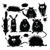 Funny stylized animals collection. Sketch for your design