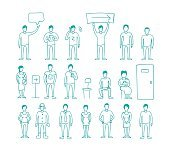 People vector set drawing hand standing and waiting in line