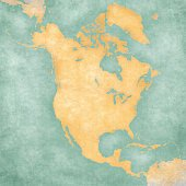Map of North America - Blank Map (Vintage Series)