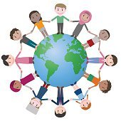 multicultural people around earth, holding hands.