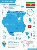 Suriname - infographic map - Illustration