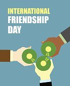 International Friends Day. Friends drinking beer. Top View Clink