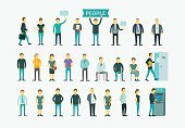 Set with people flat conception vector illustration