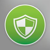 Badge icon on green button,clean vector