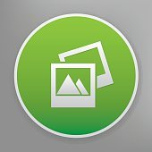 Photo icon on green button,clean vector