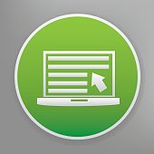 Laptop icon design on green button,vector