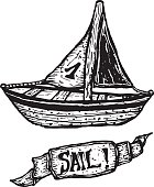 Hand drawn boat and sail banner