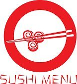 Japanese sushi restaurant logo isolated on white background.