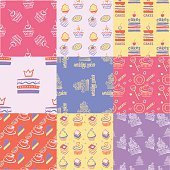 Set of seamless patterns, cakes, sweets, cupcakes.