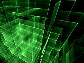 Abstract computer-generated image glowing green cubes on dark ba