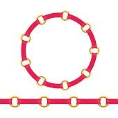 Golden chain bracelet or necklace with red fabric ribbon vector