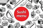 Vector vintage sushi restaurant menu illustration.