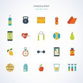 Modern flat vector icons of healthy lifestyle, fitness, physical activity