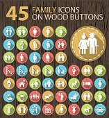 Set of 45 Flat Family White Icons on Wood Buttons.
