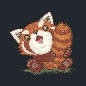 Red panda which holds a tail