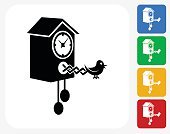 Bird Clock Icon Flat Graphic Design