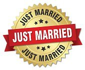 just married 3d gold badge with red ribbon