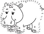 dot to dot hippopotamus game.