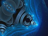 Abstract digitally generated blue technology background