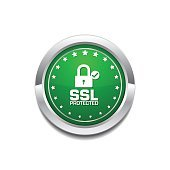 SSL Protected Green Vector Icon Button
