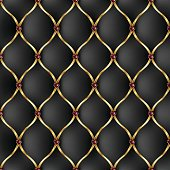 Royal black and golden tab upholstery with jewelry pattern background