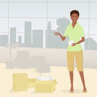 Woman Standing in Condo Unpacking Boxes