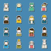 Set of people profession stickers