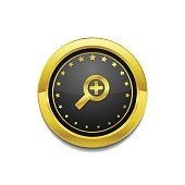 Zoom In Golden Vector Icon Button