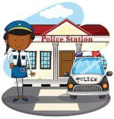 Police officer working  police station