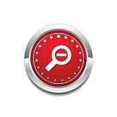 Zoom Out  Red Vector Icon Button