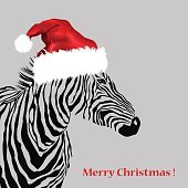 Animal illustration of vector zebra silhouette with christmas hat