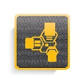 Network,Database icon on button,vector