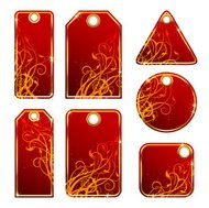 Set of floral red labels.