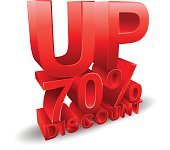 70 percent discount on white background