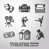 Set of freehand Theatre icons - masks, theater, stage, cinema