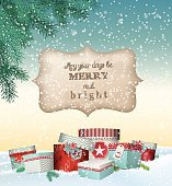 Cristmas greeting card with gift boxes in snowdrift, winter theme