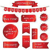 Christmas sale Ribbons Set isolated On White Background