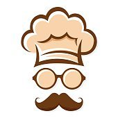 Chef With Mustache And Glasses Silhouette