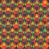 Fashion seamless pattern with tropical palm leaves and geometric ornament.