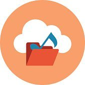 Cloud Music Colored Vector Illustration