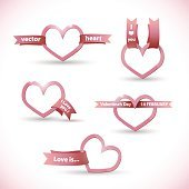 Vector banner in the form of heart with ribbon Valentine