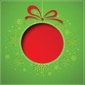 Abstract Christmas balls cutted from paper on green background
