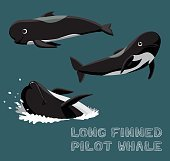 Long Finned Pilot Whale Cartoon Vector Illustration