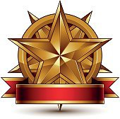 Complicated vector golden design element with decorative star