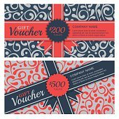 Vector gift voucher with vintage ornament background.