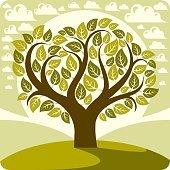 Art vector graphic illustration of stylized spring tree growing