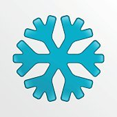 Vector snowflake icon, blue creative illustration on light gray background