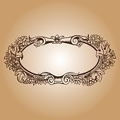 Vector vintage border frame engraving with retro ornament patter